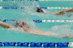 Backstroke swimmers. In a close race Stock Photos