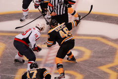 Backstrom and Krejci face-off. Stock Images