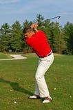 Backswing van de golfspeler Stock Foto