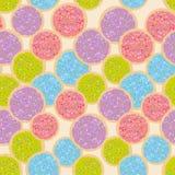 Backte nahtloses Muster bereifter Zuckeritaliener frisch Plätzchen mit dem rosa violetten blauen Grün, das bereift und bunt bespr vektor abbildung