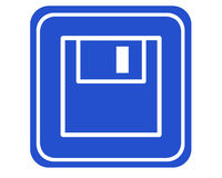 Backup. A typical blue sign showing a floppy-disk. Useful for indicating a needed backup royalty free illustration