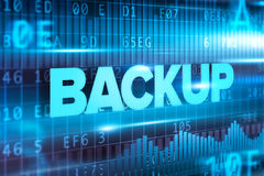 Backup abstract concept blue text blue background Royalty Free Stock Photography