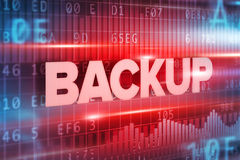 Backup abstract concept blue text blue background Stock Images
