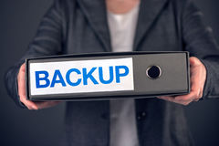Backup business data concept, archive and keep safe. Businesswoman with document ring binder Royalty Free Stock Image
