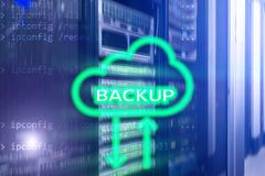Backup button on modern server room background. Data loss prevention. System recovery.  royalty free stock images