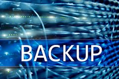 Backup button on modern server room background. Data loss prevention. System recovery. Backup button on modern server room background. Data loss prevention royalty free stock image