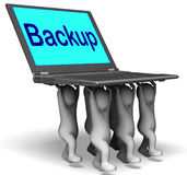 Backup Character Laptop Shows Archive Back Up. Backup Character Laptop Showing Archive Back Up And Storing Stock Image