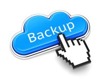 Backup cloud button. Cloud computing technology, online storage service and security concept. Button with text Backup and computer mouse cursor on white royalty free illustration