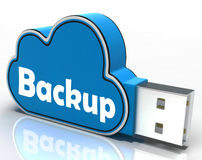 Backup Cloud Pen drive Means Data Storage Or. Backup Cloud Pen drive Meaning Data Storage Archiving Or Safe Copy Stock Photo
