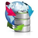 Global Access and Backup Concept. Backup Concept with Database Icon and Earth, vector isolated on white background royalty free illustration