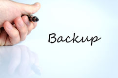 Backup concept. Pen in the hand  over white background Backup concept Stock Photo