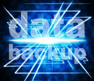 Backup Data Means File Transfer And Archive. Data Backup Representing Information Drive And Document Stock Image