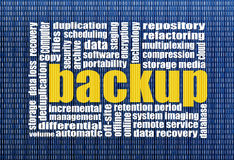 Backup and data recovery. Word cloud with a binary background stock illustration