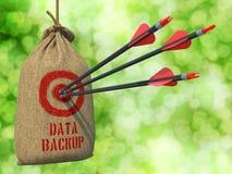 Backup de dados - setas batidas em Mark Target vermelho Imagem de Stock