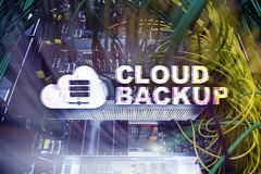 Backup della nuvola Prevenzione degli infortuni di dati del server Sicurezza cyber illustrazione vettoriale