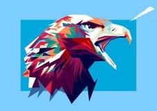 Illustration of eagle on color pop art style royalty free illustration