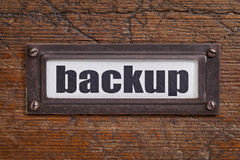 Backup - file cabinet label Royalty Free Stock Images