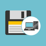 Backup floppy laptop data server. Vector illustration eps 10 Royalty Free Stock Photo