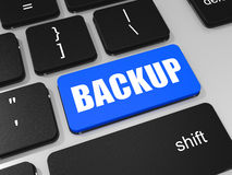 BACKUP key on keyboard of laptop computer. Stock Photo