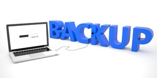 Backup. Laptop computer connected to a word on white background. 3d render illustration Stock Photography