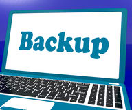 Backup Laptop Shows Archiving Back Up And Storage Royalty Free Stock Images
