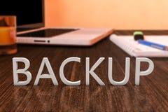 Backup. Letters on wooden desk with laptop computer and a notebook. 3d render illustration vector illustration