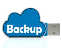 Backup Memory Stick Shows Files And Cloud Storage. Backup Memory Stick Showing Files And Cloud Storage Stock Photo