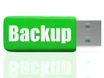 Backup Pen drive Shows Data Storage Or File Stock Photo