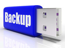 Backup Pen drive Shows Storage Organization Or Royalty Free Stock Photography