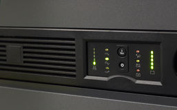 Backup Power. Closeup of an uninterruptable power supply (UPS) in black with selective focus Royalty Free Stock Photos