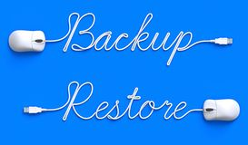 Backup - restore concept with mouse and cable. 3D illustration royalty free illustration