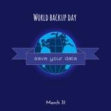 Backup and restore data ribbon badge Royalty Free Stock Images