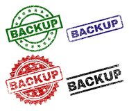 Damaged Textured BACKUP Seal Stamps. BACKUP seal prints with distress surface. Black, green,red,blue vector rubber prints of BACKUP title with dust surface royalty free illustration
