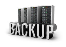 Backup servers and word concept over white Royalty Free Stock Image