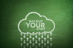 Backup seu material no quadro-negro Fotos de Stock Royalty Free