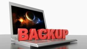 BACKUP shrinking and growing on a laptop pc - 3D rendering video stock illustration
