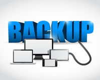 Backup sign connected to electronics. illustration Stock Image