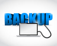 Backup sign connected to a laptop. illustration Royalty Free Stock Photography