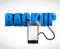 Backup sign connected to a smartphone. Illustration design over white royalty free illustration