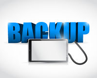 Backup sign connected to a tablet. illustration Royalty Free Stock Image
