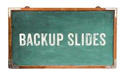 """""""Backup Slides†文本在一个宽绿色老脏的葡萄酒木黑板或减速火箭的黑板写的词消息有框架的 库存图片"""