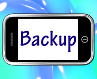 Backup Smartphone Shows Data Copying Royalty Free Stock Photos