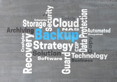 Backup Strategy wordcloud concept Stock Image