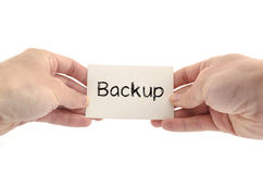 Backup text concept. Isolated over white background Stock Photos