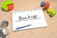 Backup text concept. Backup - text concept with notebook, coffee mug, bar graph and pie chart on wooden background - 3d render illustration Stock Photos