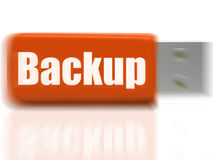 Backup USB drive Shows Data Storage Or File Transfer Royalty Free Stock Photo