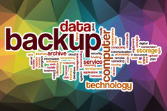 Backup word cloud with abstract background vector illustration
