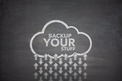 Backup your stuff on Blackboard. Backup your stuff on black Blackboard with cloud Stock Photos