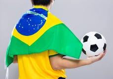 Backview της sportman ένδυσης με τη σημαία της Βραζιλίας και hol Στοκ Εικόνες