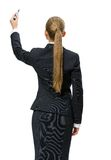 Backview of businesswoman writing on screen Stock Photos